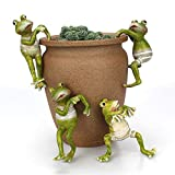 Firlar 4 Pcs Cartoon Climbing Frogs,Creative Mini Frog Figurines Animal Ornaments Potted Hanger for Office Desk Home Garden Pot Decor