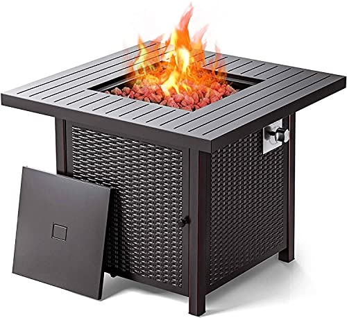 32″ Fire Table, Outdoor Propane Fire Pit Table, 50,000 BTU auto-Ignition Gas fire Pit with lid, ETL Certification and Strong Striped Steel Surface, Summer Table, Winter Pit
