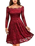 MISSMAY Women's Vintage Floral Lace Long Sleeve Boat Neck Cocktail Party Swing Dress (Large, A-red)