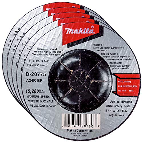 Makita 5 Pack - 4 Inch Grinding Wheel For 4' Grinders - Aggressive Grinding For Metal - 4' x 1/4' x 5/8'