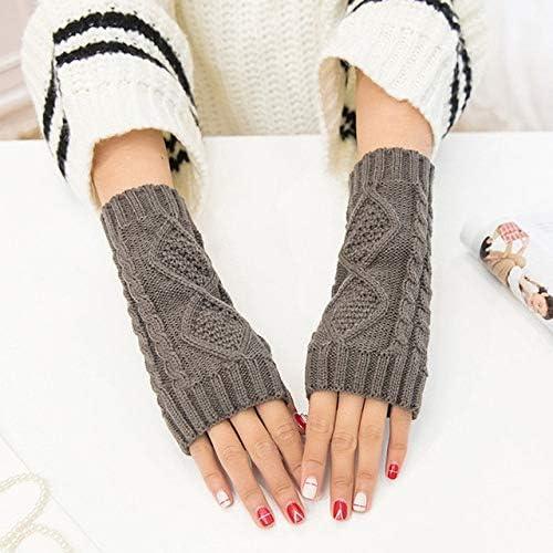 Women Men Wrist Gloves Soft Winter Warmer Knitted Mittens Fingerless Solid Casual Fashion New Hot Sale - (Color: Dark Grey)