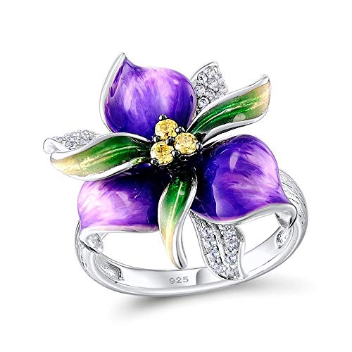 XKMY Juego de joyas para mujer para mujer, plata de ley 925 con piedras de flores moradas, pendientes de anillo, colgante y esmalte de moda (tamaño del anillo: 8,5)