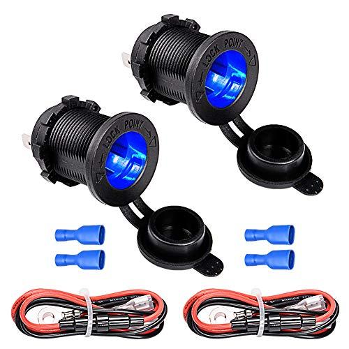 Bkinsety 2 piezas Toma de Encendedor con LED Azul, Impermeable Encendedor de Cigarrillos Zócalo para Coche Motocicleta Ship