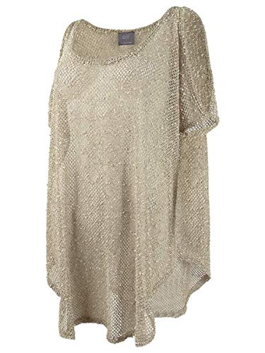 Elif Women's Crochets Sheer Cold Shoulder Tunic Swim Cover Up Taupe S