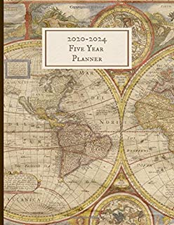 2020-2024 Five Year Planner: Monthly Schedule, Organizer, 60 Months Calendar, Personal, Agenda, Logbook, Appointment, Notebook, Journal, For The Next 5 Years. Vintage Map