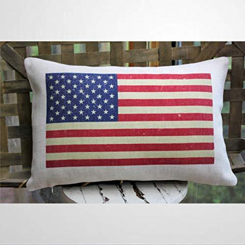 Almohada con bandera americana para decoración de la bandera de Estados Unidos de julio, almohada de bandera de Estados Unidos, decoración patriótica, funda de cojín de 30,5 x 50,8 cm