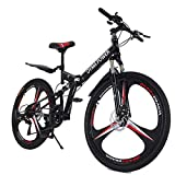Mountain Bike Ship from US,Owill 21 Speed 3 Spoke 26in Shining SYS Double Disc Brake Bicycle Folding Bike for Adult Teens Bicycle Full Suspension MTB Bikes (Red1)