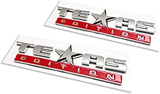 2pcs Texas Edition Emblem, Strong Stick On Emblem Badge Replacement for Sierra and Suburban Tahoe F150 Ram Truck Chrome Red
