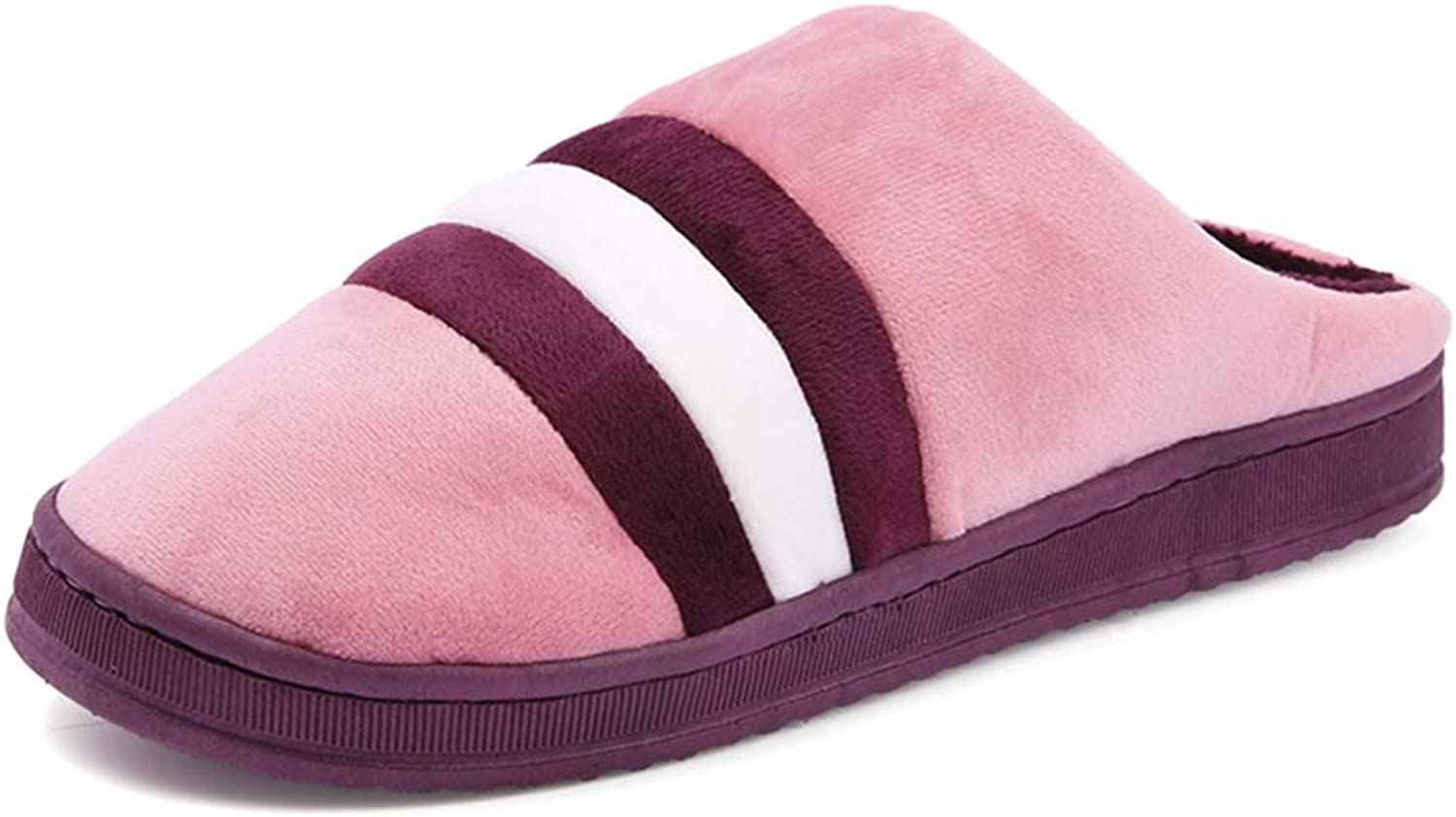 Cute Striped Women Men Couples Home Slipper for Indoor House Bedroom Flats Comfortable Warm Winter shoes Plus