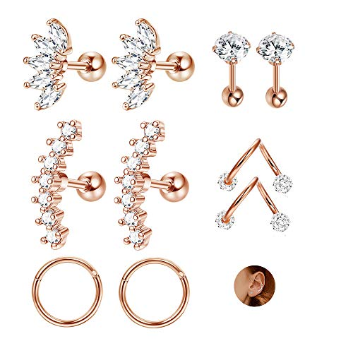 JOERICA 3 Pairs Stainless Steel Silver Ear Cartilage Earrings for Women Girls Tragus Helix Earring Cute Conch Flat Back Piercing Jewelry 16G (D:5 Pairs,Rose-gold)