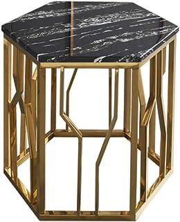 Table HUO D'appoint en Marbre D'appoint du Hall De L'hôtel De Chevet Hexagonale Côté en Acier Inoxydable Convient Aux Fami...