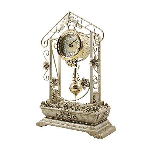 Salon de style européen chambre horloge créative retro fer calme horloge à quartz 26 * 40 * 10cm (Couleur : Champagne gold)