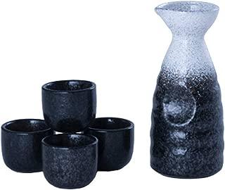 Happy Sales HSSS-MBLCHK, Perfect 5 pc Japanese Design Ceramic Sake set, Mount Haku