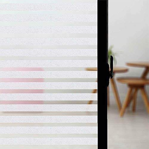 Cskunxia Fensterfolie ohne Klebstoff Blickdicht Sichtschutzfolie mit Streifenmuster Milchglasfolie für Büro und Zuhause Deko.44 * 200cm