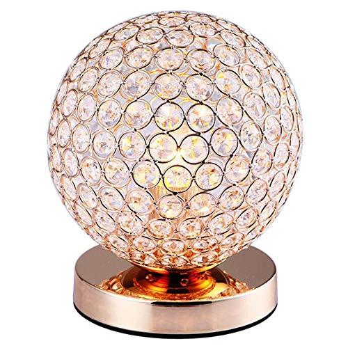 RXM Kristallen tafellampen goudbal metaalhoudend decoratief bed woonkamer slaapkamer kaptafel kantoor hal nachtverlichting goud-7,1 x 8,7 inch