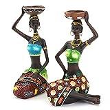 Figura africana escultura tribal dama estatua decoración coleccionable pieza de arte humano decorati...