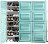 MMWYC Zapatero – zapatero extensible hecho de plástico para estantes de zapatos para un solo uso, 48 pares de zapatos (tamaño: azul)