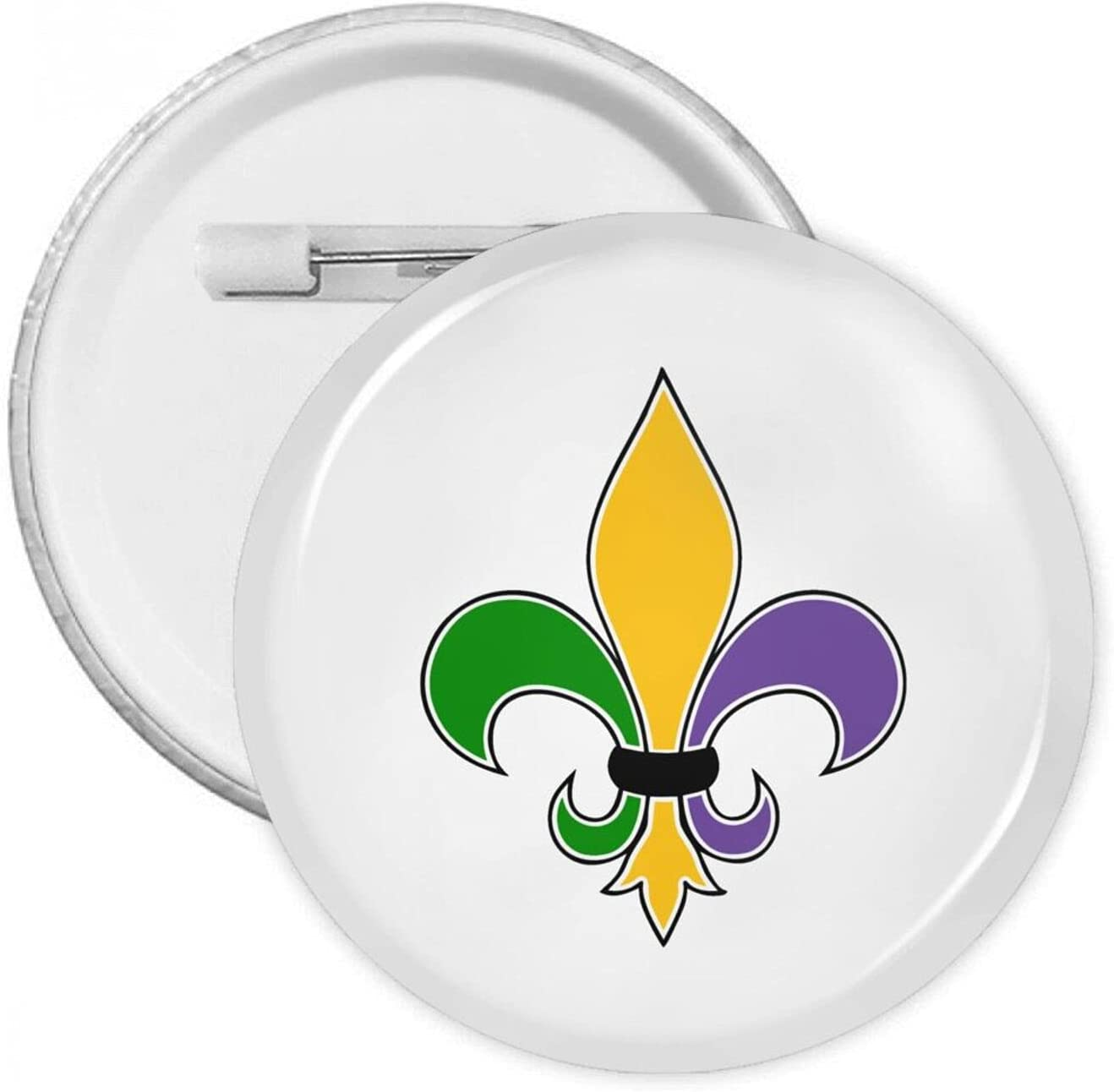 Fleur De Lis Mardi Gras Round Badge Novelty Round Brooches Fashion Round Brooch for Hats Bags Backpacks Clothes Decoration Accessories