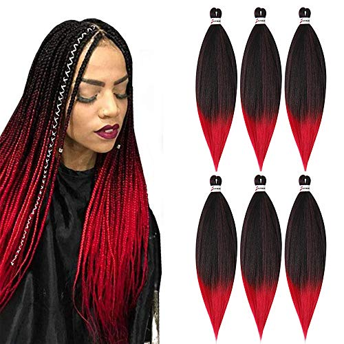 MSCHARM 6PCS/Pack 26 Inches Ombre Easy Braid Pre Stretched Braiding Hair Itch Free Synthetic Fiber Crochet Twist Braids Yaki texture Braiding Hair Extensions (1B-Red)