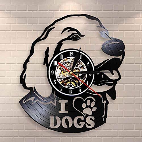 fdgdfgd Schwarze Retro CD Uhr Ich Liebe Hunde Einzigartige Schallplattenuhr Netter Welpe | 7 Farben leuchtende DIY Wanduhr