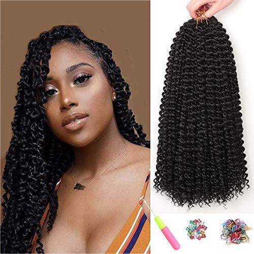 7 Packungen Passion Twist Hair 18 Zoll Crochet Braids für Passion Twist Crochet Hair Wasser Wave ShowJarlly Passion Twist Braiding Haarverlängerungen (18inch(46cm), 1#)