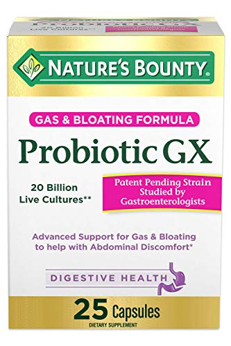 Probiotic, for Occasional Gas and Bloating Dietary Formula by Nature's Bounty, Dietary Supplement, Helps with Abdominal Discomfort, Promotes Digestive Health, 25 Capsules