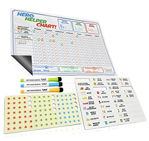 Magnetic Chore Chart for Multiple Kids - Magnetic Reward Chart - Includes Behavior Chart for Kids - Child Friendly Chores, Potty Training, Manners & Incentive Stars | Encourages Good Behavior