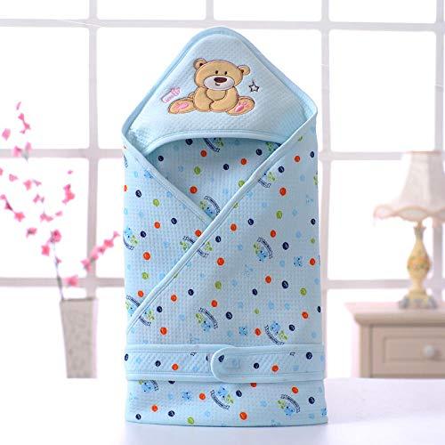 Wikkeldeken Universal Baby, Baby-quilt, katoenen slaapzak voor kinderen-blue_90 * 90, Baby-slaapzak Safe Nights