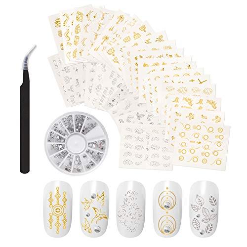 Naler 30 Blatt Nagel Sticker Nail Art Aufkleber Silber & Gold mit Nagel Tips/ Strasssteinen/ Pinzette für Nageldesign