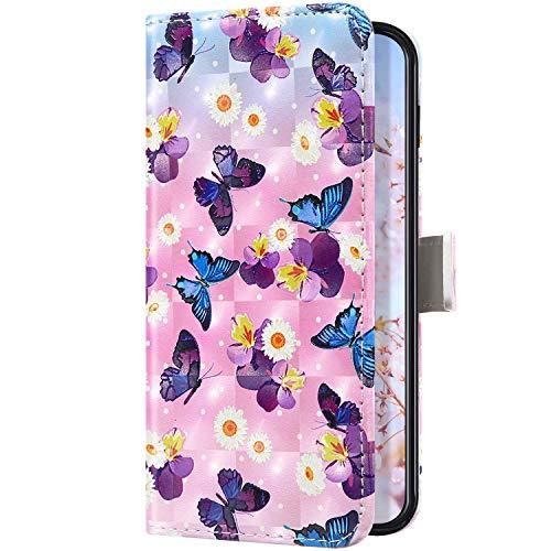 Uposao Kompatibel mit Samsung Galaxy A10S Handyhülle Bling Glänzend Glitzer 3D Bunt Muster Schutzhülle Leder Wallet Hülle Flip Book Case Brieftasche Handytasche Kartenfächer,Schmetterling