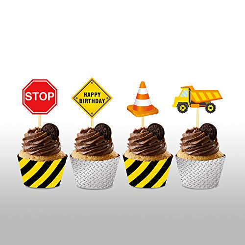 CC HOME Construction Birthday Party Supplies /24 Ct Construction Truck Cupcake Toppers Decorations &Cupcake Wrappers/ Traffic Signs Cup Cake Food Picks Decorations / Construction Zone Decoration for Kids Boy ,Baby Shower ,Birthday Party Decorations Supplies