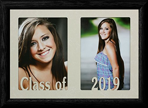 PersonalizedbyJoyceBoyce.com 7x10 Class of 2019 ~ Holds Two Portrait 4x6 or Cropped 5x7 Photos - Graduate Gift! (Black)