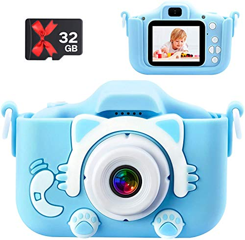 Kids Camera 1080P HD Digital Dual Camera 20MP Video Camcorder Toddler Selfie Video Record Camera with 32GB TF Card 5 Puzzle Games Birthday Electronic Toys Gifts for 39 Year Old Girls and BoysBlue