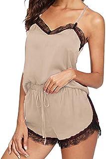 Women Fashion Solid Lace up Sleepwear Set ❀ Ladies Sleeveless Sling Nightwear Pajamas Soft Comfortable Two Piece Bathing Suits