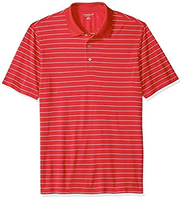 Amazon Essentials Men's Regular-Fit Quick-Dry Golf Polo Shirt, Red Stripe, Large