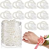 Corsage Bracelet Wrist Corsage Elastic Pearl Bands Wedding Corsages Pearl Bracelet Wedding Wristlets DIY Wrist Corsages Accessories for Wedding Prom Hand Flowers Beach Party (16 Pieces)
