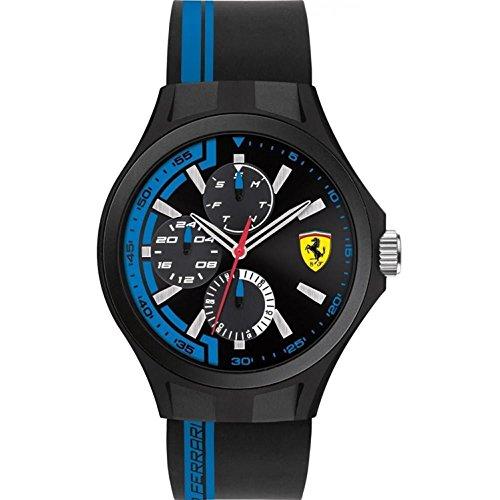Scuderia Ferrari Mens squadra ai box cinturino in gomma nera quadrante nero 0830368