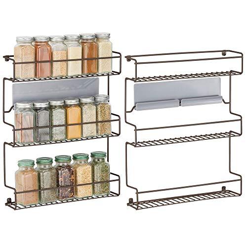 mDesign Juego de 2 especieros de cocina – Estantería metálica autoadhesiva con 3 niveles para montaje en pared – Ideal como organizador de especias para la cocina y la despensa – color bronce