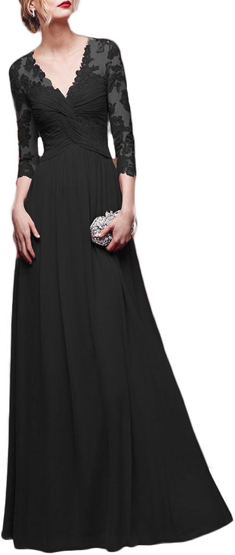 QiJunGe Women's V Neck Appliques 3 4 Sleeve Evening Gowns Formal Prom Dress