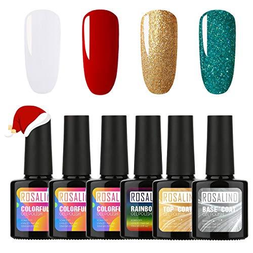 ROSALIND Esmaltes Semipermanentes para Uñas Brillante en Gel UV LED, 6pcs Kit de Esmaltes de Uñas en Gel Soak Off...