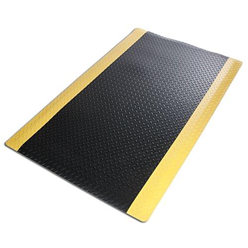 Anti-Ermüdungsmatte Heavy Duty | Arbeitsplatzmatte | Riffelblech-Struktur | Warnstreifen | Gelb-Schwarz | 60x90 cm