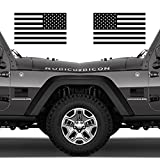 Classic Biker Gear Subdued American Flags Tactical Military Flag USA Decal 5'x3' Pair (Matte Black)