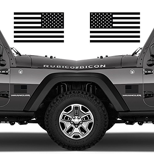 Classic Biker Gear Subdued American Flags Tactical Military Flag USA Decal 5x3 Pair (Matte Black)