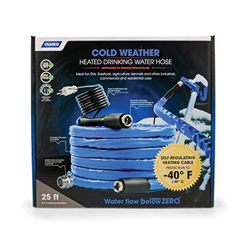 Camco 25ft Cold Weather Heated Drinking Water Hose Can Withstand Temperatures Down to -40°F/C- Lead and BPA Free, Reinforced for Maximum Kink Resistance, 5/8' Inner Diameter (22922)