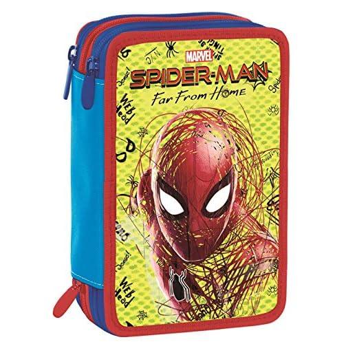 Astuccio 3 Zip Marvel Spider-Man, Rosso, Con materiale scolastico: 18 pennarelli e 18 pastelli Giotto, penna Tratto Cancellik …