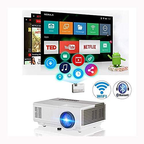 ZWMM Proyector WiFi, 4k Mini Proyector Portatil,Proyector Soporte sobre Ruedas 1080P WiFi Bluetooth 4800s Portátil Led LCD Proyector Video Proyector Soporte HD Y Hdmi USB Vga AV Home Theater Outdoor