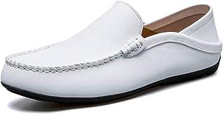 AARDIMI Hommes Doux Cuir en Grains Divisés Mocassins de Conduire Confort Penny Loafers Chaussons Chaussure Bateau Blanc, 4...