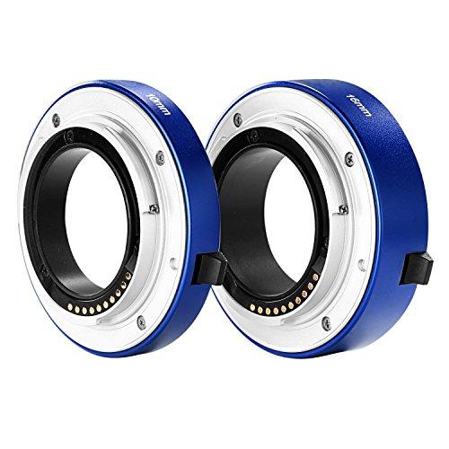 Neewer® Autofokus-Makro-Zwischenring aus Metall, Set 10 mm & 16 mm für spiegellose Kamera mit E-Mount Sony und Vollformatkamera, blau