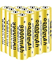 Rechargeable battery 18650, 3.7 V, 9900 mAh, Li-ion batteries, high batteries, environmentally friendly, high capacity, suitable for LED flashlight