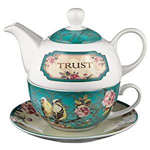 Ceramic Teapot Set | Trust In the Lord - Proverbs 3:5 | Birds and Flowers Tea For One Set with Tea Cup and Saucer